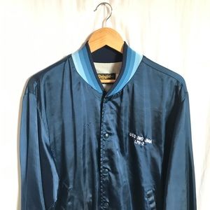 Vintage Silky Satin Bomber with Blue accents